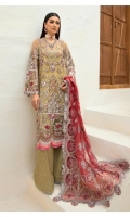 Hand embellished Embroidered front on net fabric Hand embellished embroidered sleeves on net Embroidered back on net Embroidered dupatta on net fabric Embroidered dupatta pallu on net fabric Screen printed trouser Cotton silk inner Kiran lace for four sided of dupatta Embroidered motifs for hanging