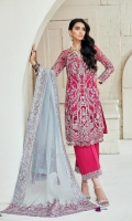 Embroidered fully hand embellished front on net fabric Embroidered back on net fabric Embroidered side panels on net fabric Cotton silk lining fabric 2.5MTR Raw silk trouser 3MTR 4 sided embroiderd dupatta on pure organza with crystals