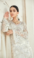 Fully Embroidered sequined front With hand embellishment Embroidered side extensions Embroidered sequined and hand Embellished sleeves Embroidered sequined back Embroidered dupatta with pearls Raw silk trouser with pearl Cotton silk trouser 3MTR