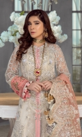 Embroidered 2 panels for front open shirt with fully hand embellishments and 3d work on polly net Embroidered sequined sleeves on polly net Embroidered sequined back on polly net Embroidered sequined border for daman on satin Embroidered sequined daman for back on satin Embroidered daman for sleeves on satin Embroidered sequined side panels for shirt on polly net Embroidered sequined dupatta on pure organza 2.5MTR Cotton silk lining Silver Screen printed trouser 2.5MTR