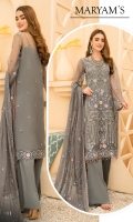 Embroidered Front Organza. Embroidered Front border. Embroidered Back Organza. Embroidered Back border. Embroidered Sleeves Organza. Embroidered Sleeves border. Embroidered dupatta Chiffon. Trouser Dyed grip