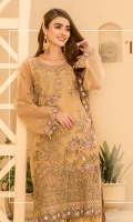 Embroidered Front Organza. Embroidered Front border. Embroidered Back Organza. Embroidered Back border. Embroidered Sleeves Organza. Embroidered Sleeves border. Embroidered dupatta chiffon . Trouser Dyed grip.