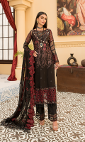 Embroidered Front Chiffon Handmade. Embroidered Back Chiffon. Embroidered Sleeves Chiffon Handmade. Embroidered Dupatta Chiffon. Embroidered Front Border. Embroidered Back + Sleeves Border. Embroidered Sleeves Shoulder Border. Trouser. Embroidered Trouser Border.