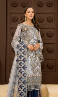 Embroidered Front Chiffon Handmade. Embroidered Back Chiffon. Embroidered Sleeves Chiffon. Embroidered Dupatta Net. Embroidered Front Border Handmade. Embroidered Back Border. Embroidered Sleeves Border. Embroidered Sharara Contrast. Trouser Contrast. Embroidered Motif.