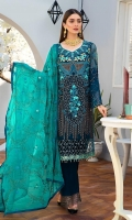 CHIFFON EMBROIDERED FRONT (1 YARD) ORGANZA EMBROIDERED FRONT BORDER PATCH (1 YARD) CHIFFON EMBROIDERED BACK (1 YARD) ORGANZA EMBROIDERED BACK BORDER PATCH (1 YARD) CHIFFON EMBROIDERED SLEEVES (0.60 YARD) ORGANZA EMBROIDERED SLEEVES PATCH (1 YARD) ORGANZA EMBROIDERED SLEEVES MOTIVES PATCH (2 PIECE) CHIFFON EMBROIDERED DUPATTA (2.50 YARDS) DYED GRIP RAW-SILK TROUSER(2.50 YARDS) ORGANZA EMBROIDERED TROUSER PATCH (1 YARD)