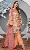 CHIFFON EMBROIDERED FRONT (1YARD) ORGANZA EMBROIDERED FRONT BORDER PATCH (1 YARD) CHIFFON EMBROIDERED BACK (1 YARD) ORGANZA EMBROIDERED BACK BORDER PATCH (1 YARD) CHIFFON EMBROIDERED SLEEVES (2 YARDS) ORGANZA EMBROIDERED SLEEVES PATCH (1 YARD) CHIFFON EMBROIDERED DUPATTA WITH HAND MADE PEARLS (2.50 YARDS) DYED GRIP RAW-SILK EMBROIDERED TROUSER(2.50 YARDS)