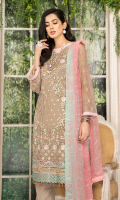 CHIFFON EMBROIDERED FRONT WITH HAND MADE PEARLS (1YARD) ORGANZA EMBROIDERED FRONT BORDER PATCH (1 YARD) CHIFFON EMBROIDERED BACK (1 YARD) ORGANZA EMBROIDERED BACK BORDER PATCH (1 YARD) CHIFFON EMBROIDERED SLEEVES WITH HAND MADE PEARLS (0.60YARD) ORGANZA EMBROIDERED SLEEVES PATCH 2 PIECES (2 YARDS) CHIFFON EMBROIDERED DUPATTA (2.50 YARDS) DYED GRIP RAW-SILK TROUSER (2.50 YARDS) ORGaAZA EMBROIDERED TROUSER PATCH (1 YARD)