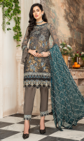 CHIFFON EMBROIDERED FRONT (1YARD) ORGANZA EMBROIDERED FRONT BORDER PATCH (1 YARD) CHIFFON EMBROIDERED BACK (1 YARD) ORGANZA EMBROIDERED BACK BORDER PATCH (1 YARD) CHIFFON EMBROIDERED SLEEVES (0.60YARD) ORGANZA EMBROIDERED SLEEVES PATCH (1 YARD) CHIFFON EMBROIDERED DUPATTA (2.50 YARDS) DYED GRIP RAW-SILK TROUSER (2.50 YARDS) ORGaAZA EMBROIDERED TROUSER PATCH (1 YARD)
