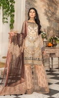 CHIFFON EMBROIDERED FRONT (1YARD) ORGANZA EMBROIDERED FRONT BORDER PATCH 2 PIECES ORGANZA EMBROIDERED WITH HAND MADE NECKLINE PATCH (1 PIECE) CHIFFON EMBROIDERED BACK (1 YARD) ORGANZA EMBROIDERED BACK BORDER PATCH (1 YARD) CHIFFON EMBROIDERED SLEEVES (0.60YARD) ORGANZA EMBROIDERED SLEEVES PATCH (1 YARD) NET  EMBROIDERED  DUPATTA (2.50 YARDS) ORGANZA EMBROIDERED PALLU PATCH 2 PIECES DYED GRIP RAW-SILK TROUSER (2.50 YARDS) ORGaAZA EMBROIDERED SHARARA FABRIC 1 PIECEx