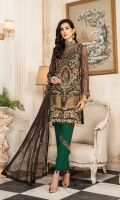 CHIFFON EMBROIDERED FRONT (1YARD) CHIFFON EMBROIDERED BACK (1 YARD) ORGANZA EMBROIDERED BACK BORDER PATCH (1 YARD) CHIFFON EMBROIDERED SLEEVES (0.60YARD) ORGANZA EMBROIDERED SLEEVES PATCH (1 YARD) CHIFFON EMBROIDERED DUPATTA (2.50 YARDS) DYED GRIP RAW-SILK TROUSER (2.50 YARDS) ORGaAZA EMBROIDERED TROUSER PATCH (1 YARD)