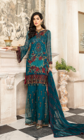 CHIFFON EMBROIDERED FRONT (1YARD) ORGANZA EMBROIDERED FRONT BORDER PATCH (1 YARD) ORGANZA EMBROIDERED WITH HAND MADE NECKLINE PATCH (1 PIECE) ORGANZA EMBROIDERED FRONT HANDMADE SECOND PATCH 1 PIECE CHIFFON EMBROIDERED BACK (1 YARD) ORGANZA EMBROIDERED BACK BORDER PATCH (1 YARD) CHIFFON EMBROIDERED SLEEVES (0.60YARD) CHIFFON EMBROIDERED DUPATTA (2.50 YARDS) DYED GRIP RAW-SILK TROUSER (2.50 YARDS) ORGaAZA EMBROIDERED TROUSER PATCH (1 YARD)