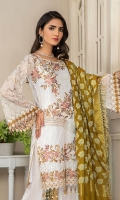CHIFFON EMBROIDERED FRONT (1YARD) ORGANZA EMBROIDERED FRONT BORDER PATCH  (1 YARD) CHIFFON EMBROIDERED BACK   (1 YARD) ORGANZA EMBROIDERED BACK BORDER PATCH (1 YARD) CHIFFON EMBROIDERED SLEEVES (0.60YARD) EMBROIDERED SLEEVES  PATCH (1 .25YARD) JAMAWAR DUPATTA (2.50 YARDS) DYED GRIP RAW-SILK TROUSER(2.50 YARDS) ORGaAZA EMBROIDERED TROUSER PATCH (1 YARD )