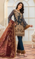 CHIFFON EMBROIDERED FRONT (1YARD) ORGANZA EMBROIDERED FRONT BORDER PATCH  (1 YARD) CHIFFON EMBROIDERED BACK   (1 YARD) ORGANZA EMBROIDERED BACK BORDER PATCH (1 YARD) CHIFFON EMBROIDERED SLEEVES (0.60YARD) ORGANZA PLAIN SLEEVES SECOND PATCH 1 PIECE EMBROIDERED SLEEVES  PATCH (1.25 YARD) DUPATTA JAMAWAR (2.50 YARDS) DYED GRIP RAW-SILK TROUSER(2.50 YARDS) ORGaAZA PLAIN TROUSER PATCH (1 PIECE ) ORGANZA EMBROIDERED TROUSER SECOND PTCH (1.15 YARDS)