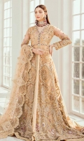 EMBROIDERED NET HAND MADE FRONT BACK AND SLEEVES EMBROIDERED NET DUPATTA EMBROIDERED HAND MADE DAMAN PATCH JAMAWAR INNER AND ACCESSORIES.