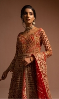 EMBROIDERED NET HANDMADE FRONT SLEEVES AND BODY EMBROIDERED NET BACK, BACK BODY AND DUPATTA EMBROIDERED HANDMADE FRONT DAMAN EMBROIDERED BACK DAMAN EMBROIDERED FRONT PATTI JAMAWAR INNER