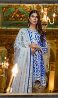 Chiffon Embroidered Front Panel, Sleeves, Dupata, Embroidered Front,  Side Jaal Back, Back Daman Patch, Jamawaar Trouser and Accessories.