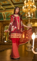 Chiffon Embroidered Front, Sleeves, Dupata, Embroidered Front, Daman Patch, Embroidered Trouser and Accessories.