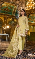 Chiffon Embroidered Dori Front, Sleeves, Dupata, Embroidered Back,Embroidered Front, Back Daman Patch, Embroidered Net Dupata, Jecquard Trouser and Accessories.