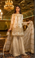 Mesoury Embroidered Front, Back, Sleeves, chiffon Embroidered Dupata, Embroidered Front, Back Daman Patch, Embroidered Bazu Patch, Embroidered Trouser Patti Patch, Jamawaar, Trouser and Accessories.