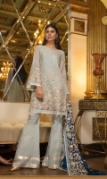 Chiffon Embroidered Handmade Front, Sleeves, Dupata Embroidered Back , Embroidered Back,  Embroidered Handmade Front Daman, Embroidered Back Daman Patch, Grip Trouser and Accessories.
