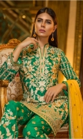 Chiffon Embroidered Front, Back, Sleeves, Dupata, Embroidered Front, Back Daman Patch, Embroidered Trouser and Accessories.