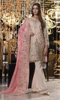 CHIFFON EMBROIDERED FRONT, BACK , SLEEVES, DUPATTA EMBROIDERED FRONT, BACK DAMAN PATCH EMBROIDERED TROUSER PATTI PATCH, GRIP TROUSER ACCESSORIES.