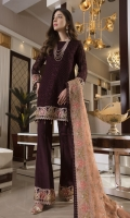 CHIFFON EMBROIDERED FRONT, BACK , SLEEVES, DUPATTA, EMBROIDERED FRONT, BACK DAMAN PATCH EMBROIDERED TROUSER PATTI PATCH, GRIP TROUSER ACCESSORIES