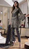 CHIFFON EMBROIDERED FRONT, BACK , SLEEVES, DUPATTA EMBROIDERED FRONT, BACK DAMAN PATCH, GRIP, TROUSER ACCESSORIES