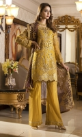 CHIFFON EMBROIDERED HANDMADE FRONT, SLEEVES, CHIFFON EMBROIDERED BACK, DUPATTA, EMBROIDERED FRONT DAMAN PATCH, GRIP TROUSER ACCESSORIES