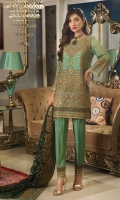 CHIFFON EMBROIDERED FRONT, BACK , SLEEVES, DUPATTA EMBROIDERED FRONT, BACK DAMAN PATTI PATCH, GRIP, TROUSER ACCESSORIES