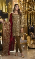 CHIFFON EMBROIDERED FRONT, BACK , SLEEVES, DUPATTA EMBROIDERED FRONT, BACK DAMAN PATCH, JAMAWAR TROUSER ACCESSORIES