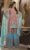 CHIFFON EMBROIDERED FRONT, BACK , SLEEVES, DUPATTA EMBROIDERED FRONT, BACK DAMAN PATCH EMBROIDERED NET SAHARARA, GRIP TROUSER ACCESSORIES