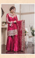 Chiffon Embroidered Front, Back, Sleeves. Embroidered Neck Patch, Daman Patch. Chiffon Embroidered Dupatta. Embroidered Grip Trouser. Accessories