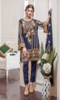 Chiffon Embroidered Front, Back, Sleeves. Embroidered Daman Patch. Embroidered Dupatta, Grip Trouser.