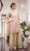 Chiffon Embroidered Front, Back, Sleeves Net Embroidered Sharara & Jamawar Lining Embroidered Net Dupatta & Embroidered patti