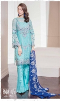 Chiffon Embroidered Front. Back. Sleeves. Embroidered Daman Patti. Chiffon Embroidered Dupatta & Grip Trouser. Accessories