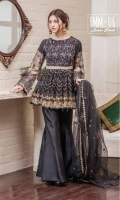 Chiffon Embroidered Front, Back, Net Embroiderd Sleeves. Embroidered Belt Patti. Embroidered Net Dupatta, Grip Trouser. Accessories.