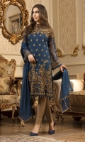 EMBROIDERED CHIFFON FRONT BACK AND SLEEVES EMBROIDERED DAMAN PATCH EM- BROIDERED CHIFFON DUPPATA MASORI TROS- ER AND ACCESSORIES