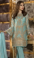 EMBROIDERED CHIFFON FRONT AND SLEEVES CHIFFON BACK EMBROIDERED ORGANZA DUPPATA EMBROIDERED DAMAN PATCH GRIP TROSER AND ACCESSORIES