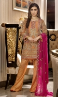 EMBROIDERED MASORI FRONT BACK AND SLEEVES EMBROIDERED DAMAN PATCH EM- BROIDERED CHIFFON DUPPATA GRIP TROSER AND ACCESSORIES