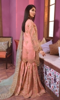EMBROIDED ORGANZA FRONT, BACK AND SLEEVES. EMBROIDED FRONT , BACK AND SLEEVES PATCH EMBROIDED ORGANZA DUPATTA. EMBROIDED GRIP SHARARAH AND ACCESSORIES.
