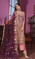EMBROIDED HANDMADE CHIFFON FRONT. EMBROIDED CHIFFON BACK. EMBROIDED CHIFFON SLEEVES. EMBROIDED HANDMADE FRONT PATTI. EMBROIDED CHIFFON DUPATTA. JAMAWAR TROUSER AND ACCESSORIES.