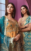 EMBROIDED HANDMADE MESORI FRONT AND SLEEVES. HANDMADE MESORI BODY. EMBROIDED MESORI BACK. EMBROIDED HANDMADE FRONT AND SLEEVES PATCH. EMBROIDED FRONT PATTI. EMBROIDED CHIFFON DUPATA JAMAWAR TROUSER AND ACCESSORIES.