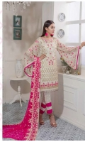 Chiffon Embroidered Front , Back , Sleeves , Front & Back Embroidered Daman Patch , Chiffon Embroidered Dupatta , Grip Trouser & Accessories