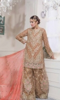 Chiffon Embroidered Front , Back , Sleeves , Front & Back Embroidered Daman Patch , Chiffon Embroidered Dupatta , Embroidered Net Saharara , Jamawar Lining & Accessories