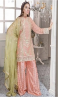 Chiffon Embroidered Front , Back , Sleeves , Front & Back Embroidered Daman Patch , Chiffon Embroidered Dupatta , Grip Embroidered Trouser & Accessories