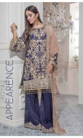 Chiffon Embroidered Front , Back , Sleeves , Front & Back Embroidered Daman Patch , Chiffon Embroidered Dupatta , Embroidered Trouser & Accessories