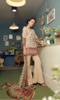 Embroidered Swiss front+back+sleeves Embroidered daman patti+sleeves. Cotton trouser. Digitally printed chiffon dupatta.