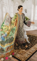 Formal Dress with Hand Embroidered: Lawn Body(Front, Back & Sleeves), Embroidered Organza Daman Patch (Front & Back), Embroidered Organza Sleeves Patti Patch and Back Motif. Paired with Digital Print Silk Dupatta and Cotton Trouser.