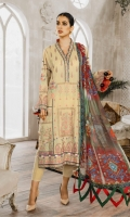 Formal Dress with Hand Embroidered: Lawn Body(Front, Back & Sleeves), Embroidered Organza Daman Patch (Front & Back), Embroidered Organza Sleeves Patti Patch and Back Motif. Paired with Digital Print Chiffon Dupatta and Cotton Trouser.